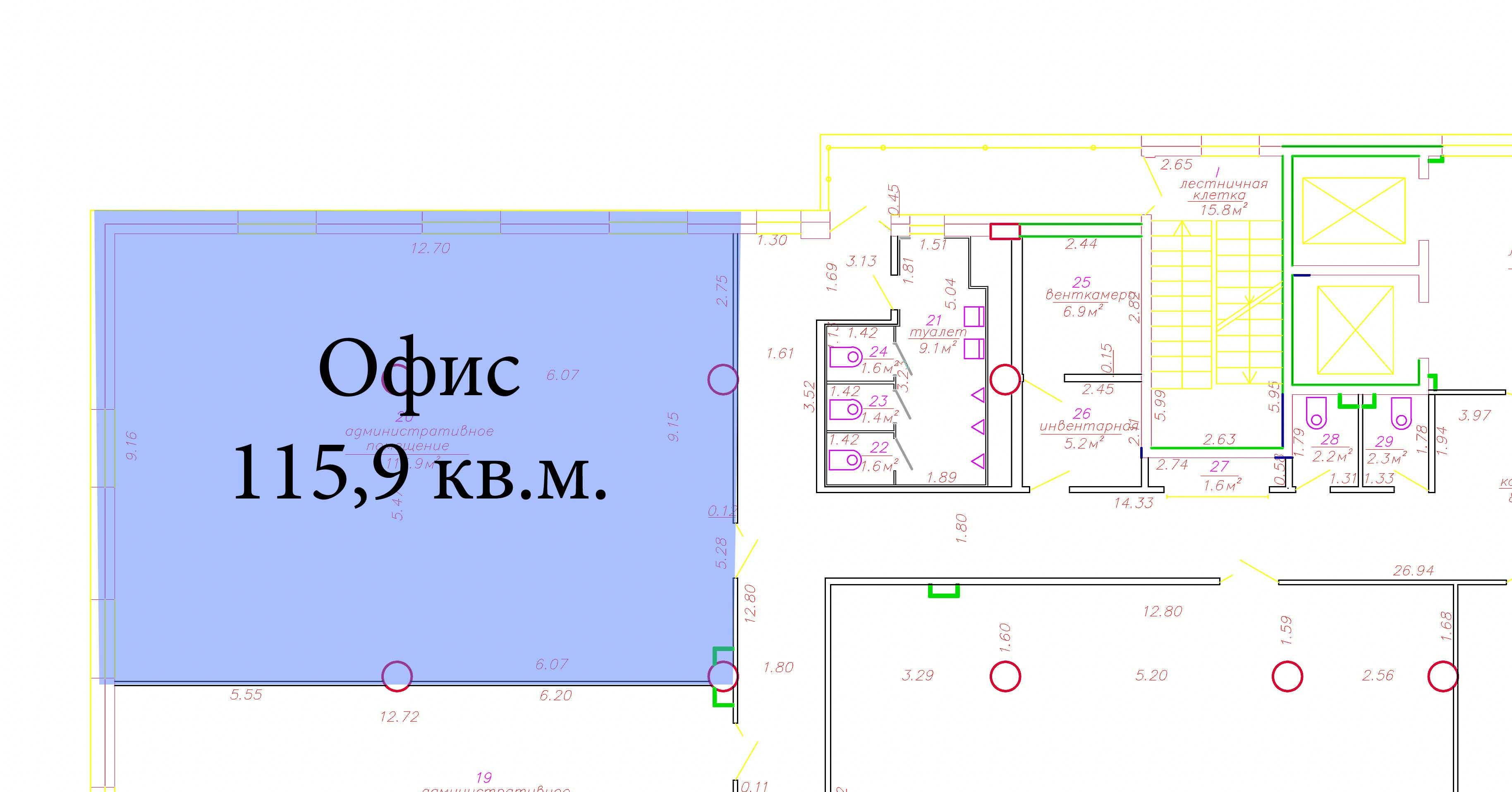 офис 115,9 кв.м. на 6 этаже