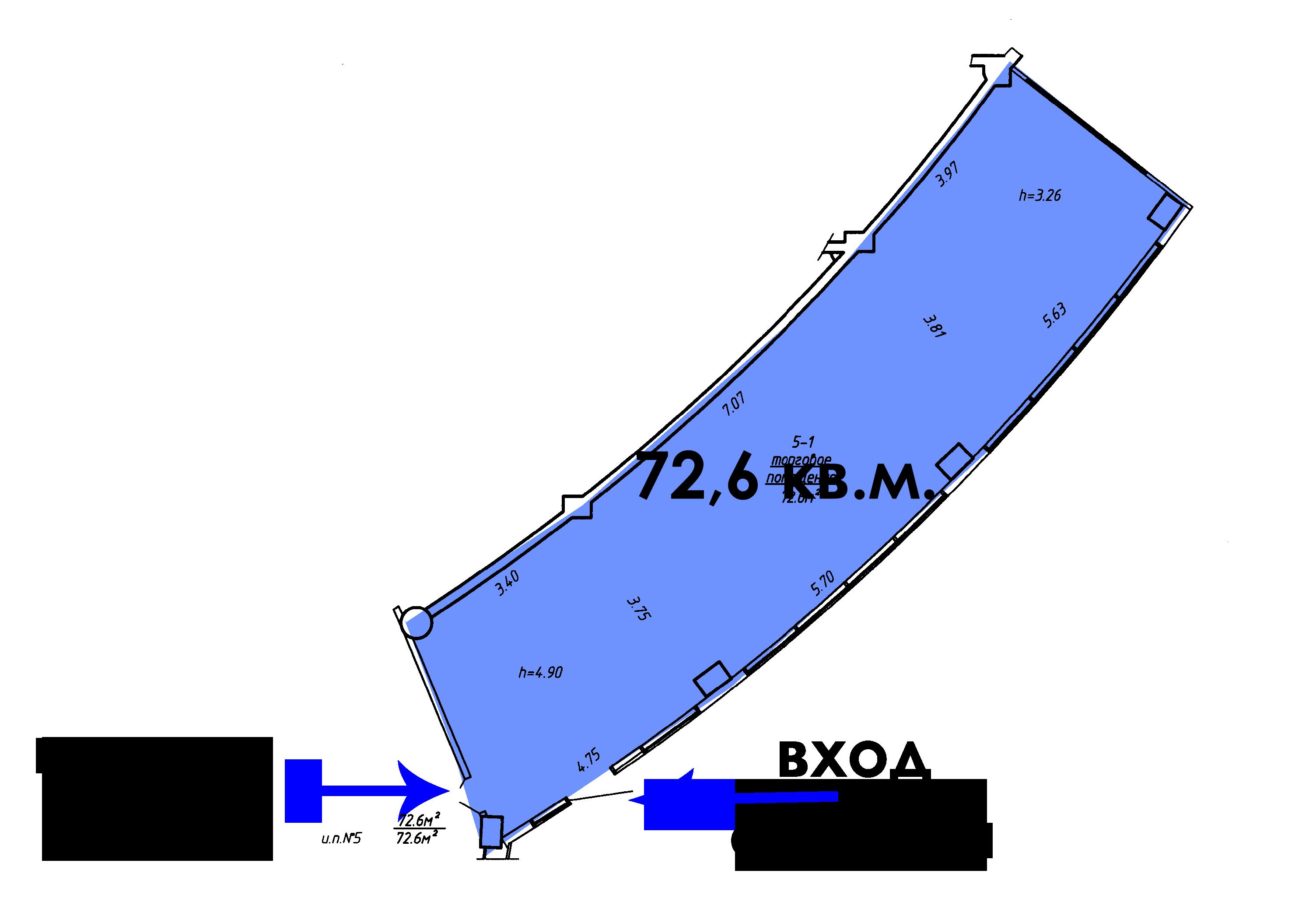 72.6 кв.м. на 1 этаже